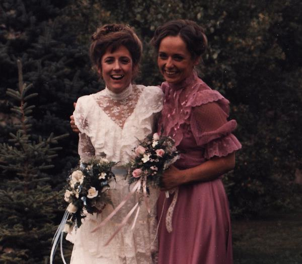 My sister on her wedding day 29 years ago — like my raspberry dress with puffy sleeves?