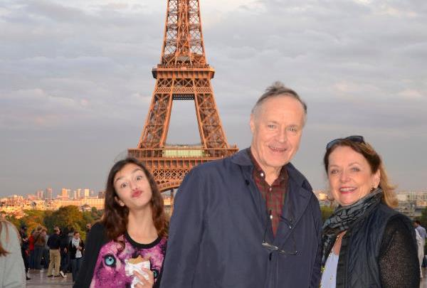 Photo-bombed in Paris (with Lew and a young woman who disappeared fast!) . . . is she critic-bombing my writing too?