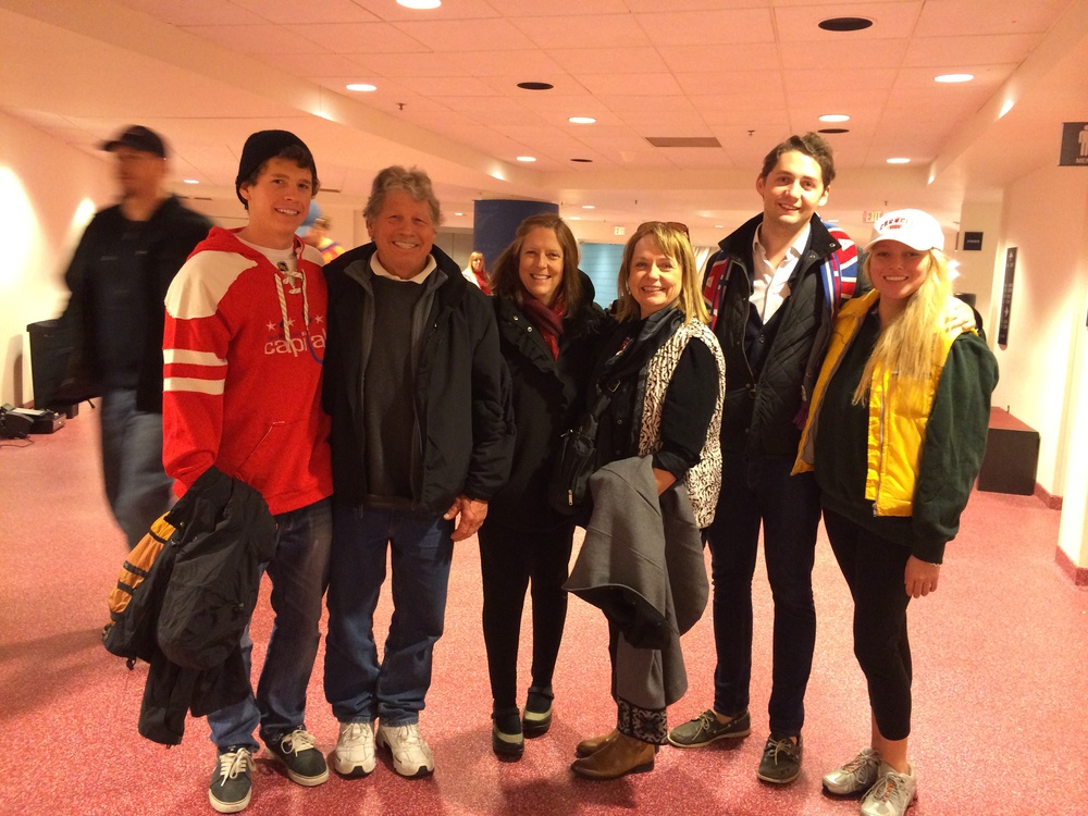 Family and friends at the Caps game -- can you find the 20-somethings in the picture?