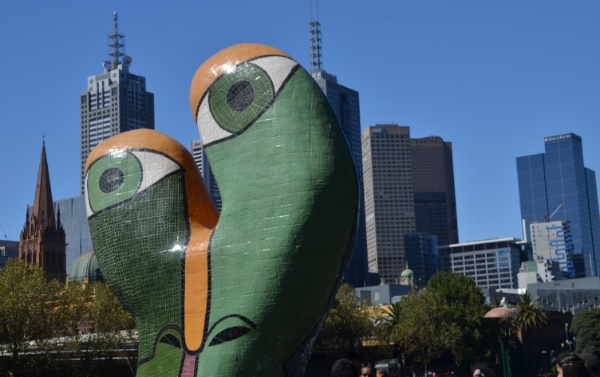 This photo captures the contrasts of Australia: creative and zany mixed with serious business in Sydney.