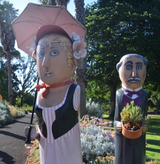 Why is she on her best behavior under the watchful eye of Geelong Botanical Garden founder, Daniel Bunce?