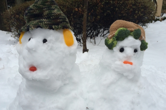 Snow people....thanks to magical sculpture medium falling from the sky and a few left over vegetables.