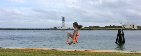 As some of you know, my two eldest granddaughters are Irish dancers -- here they are jumping for joy at Port Everglades.