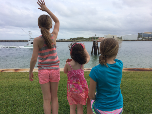 And with their younger sister waving to the ships at Port Everglades.