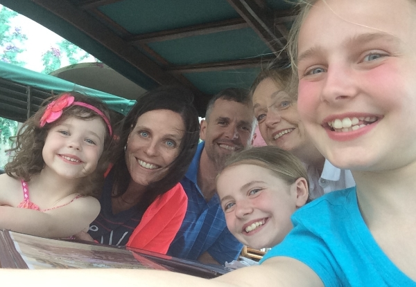 """A """"selfie"""" in Florida with my son, daughter-in-law, and three granddaughters."""