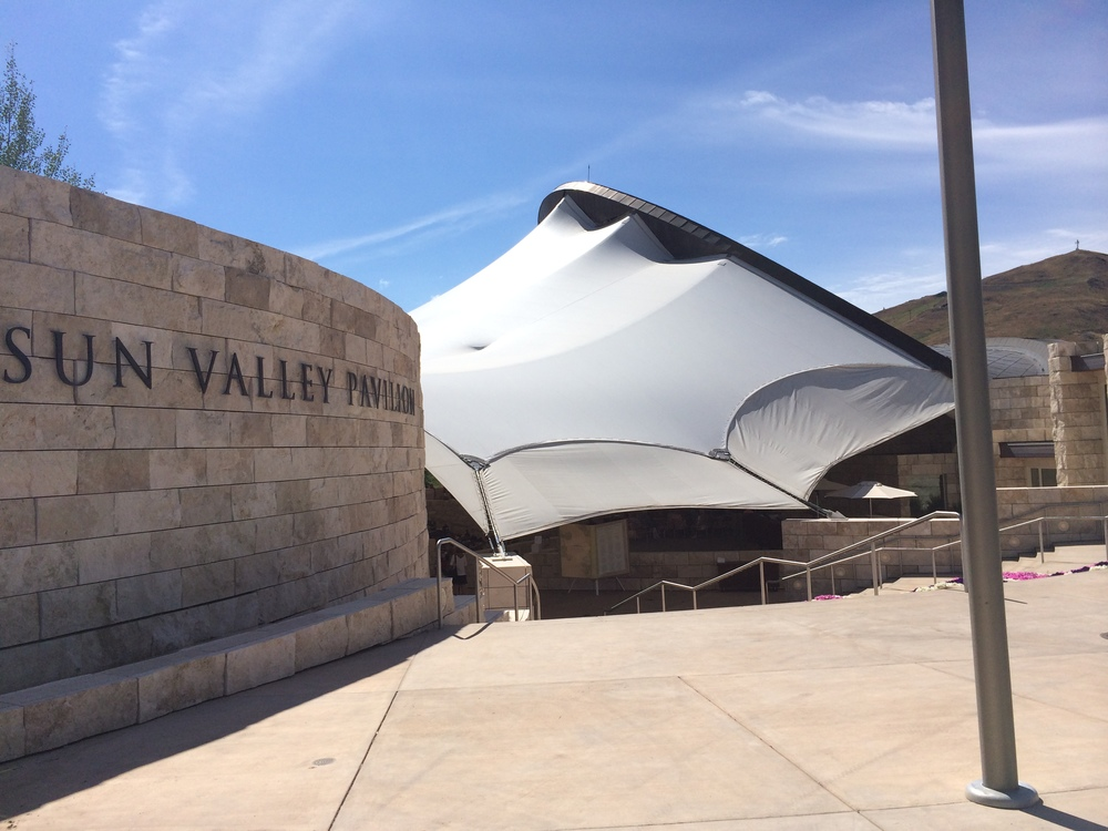 The tent and stone amphitheater at the base of Baldy Mountain in Sun Valley.