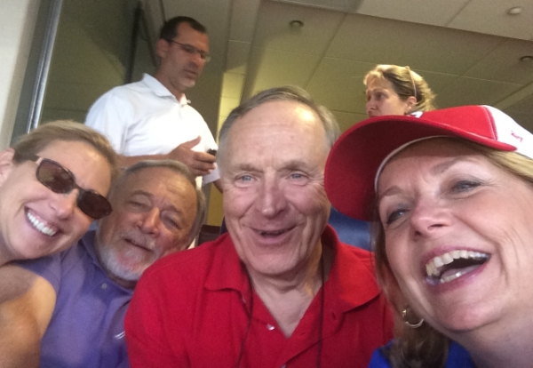 A selfie of me and Lew with great friends, Linda and Jim, who took us out to the ballgame.