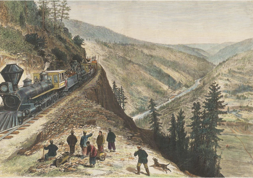 Building the transcontinental railroad.