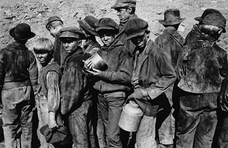 "Child laborers known as ""breaker boys"" — one of many injustices of 19th Century coal mining."