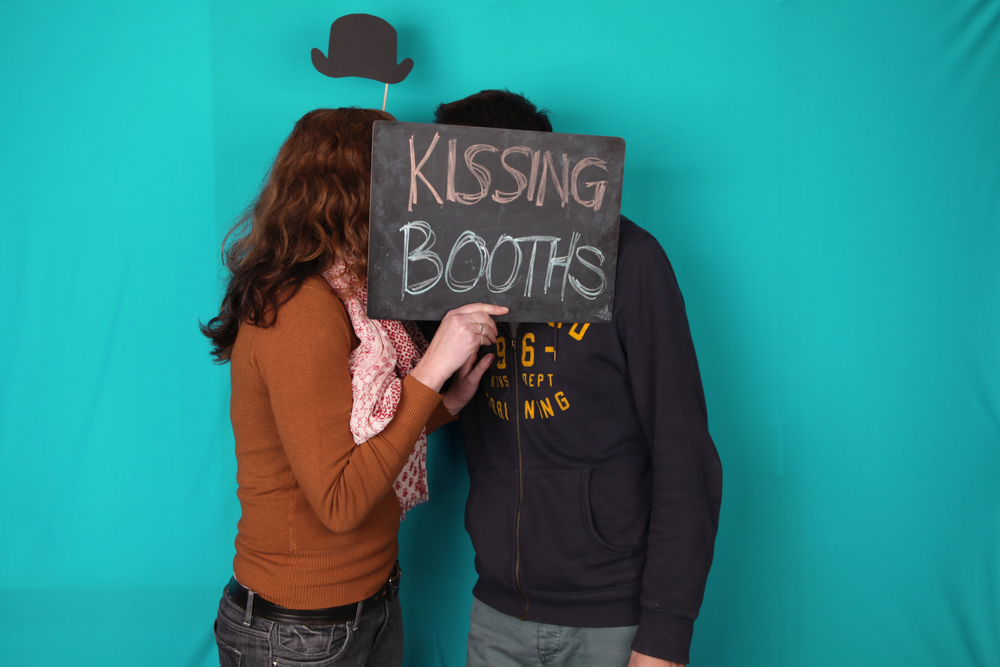 kissing booth with chalkboard
