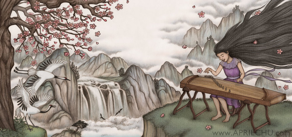 Interior Art for SUMMONING THE PHOENIX: POEMS & PROSE ABOUT CHINESE MUSICAL INSTRUMENTS (Shen's Books, Spring 2014)