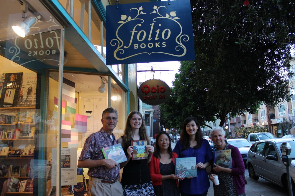 David Schwartz, Georgia Lyon, Muon Van, me and Julie Downing holding copies of our books in front of Folio Books after our Artistry of Children's Storytelling Panel.