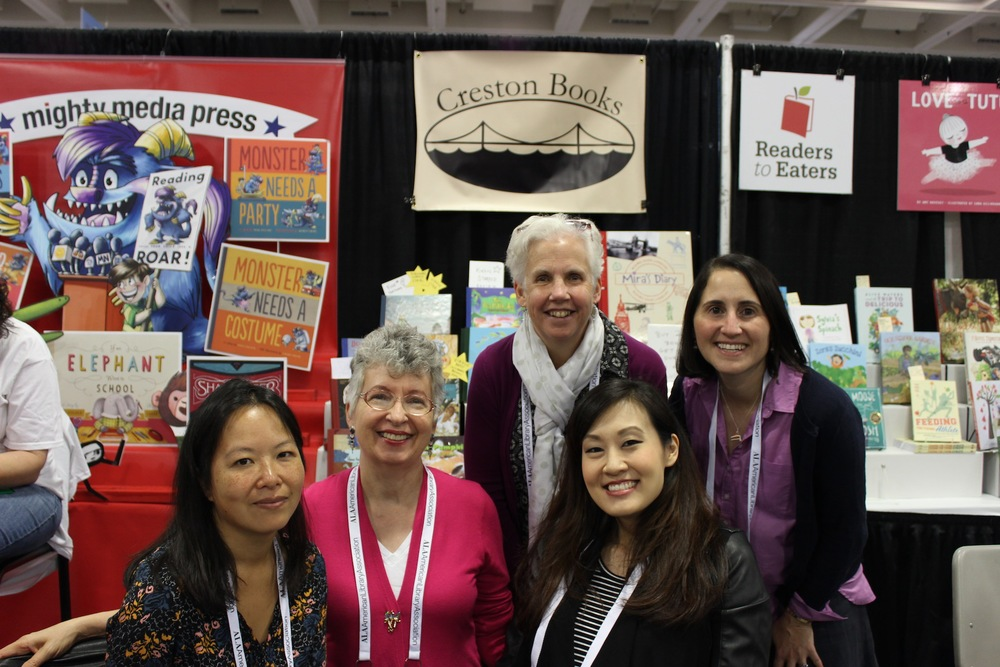 The Creston Books Crew at the ALA Conference in San Francisco. From L to R, Muon Van, Darlene Beck Jacobson, Julie Downing, me, and Robin Newman.