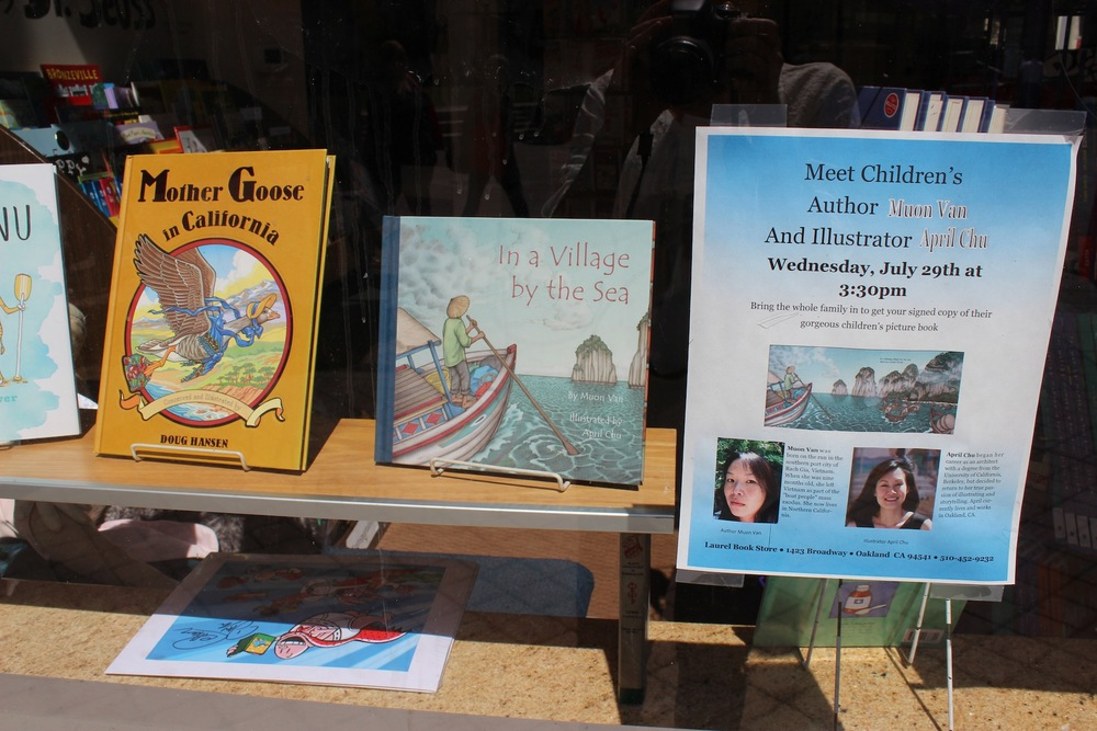 Window display at the new Laurel Book Store location in Downtown Oakland. Our event was on one of the hottest summer days in the Bay Area.