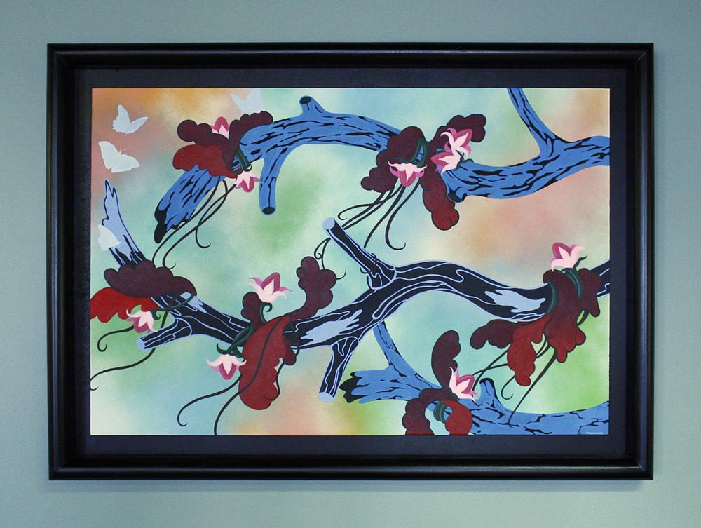 Patricia Rodriguez Arbol Azul acrylic, Krylon, canvas $750