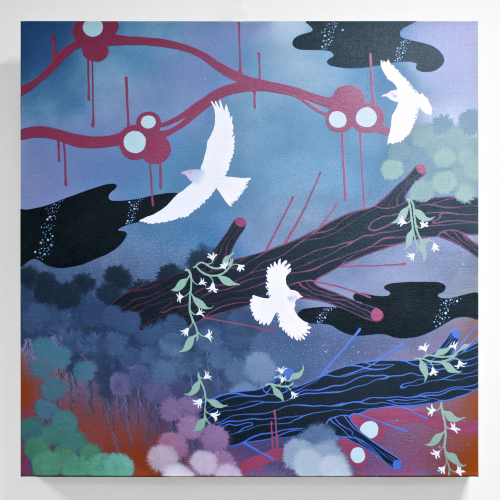 Patricia Rodriguez   Night Flight  acrylic, Krylon, canvas  $550