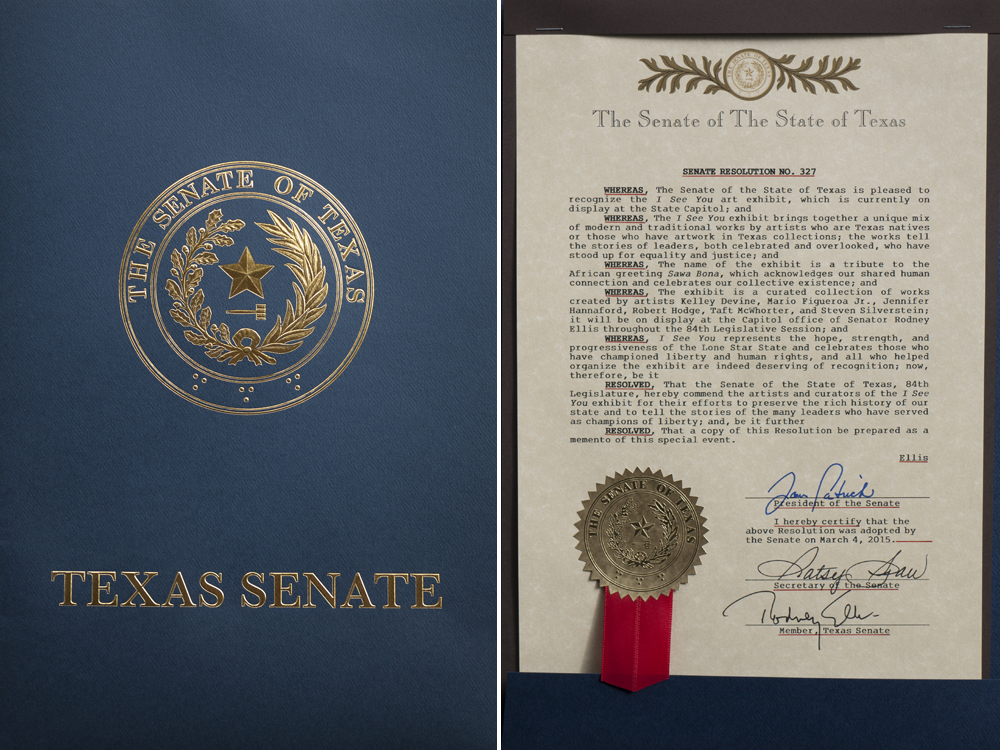 A Senate Resolution was passed in honor of the artists and exhibit, which recognizes civil and human rights.