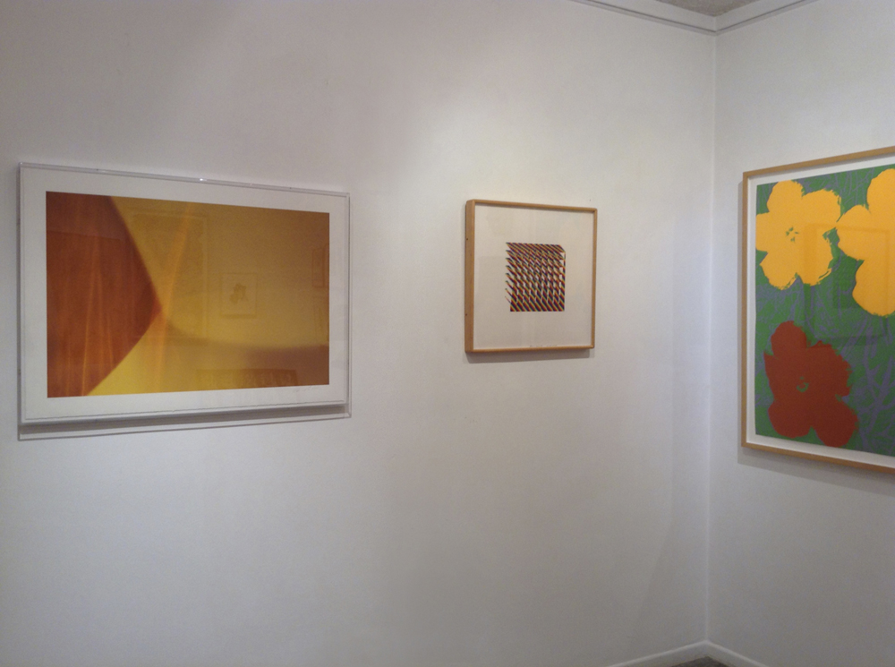 Mystical Interpretation  20x 30 inches (50.8 x 76.2 cm) ( (left), abstract photographic work on paper by Steven Silverstein, installed in a collector's home next to works by Channa Horitz (middle) and Andy Warhol (right).