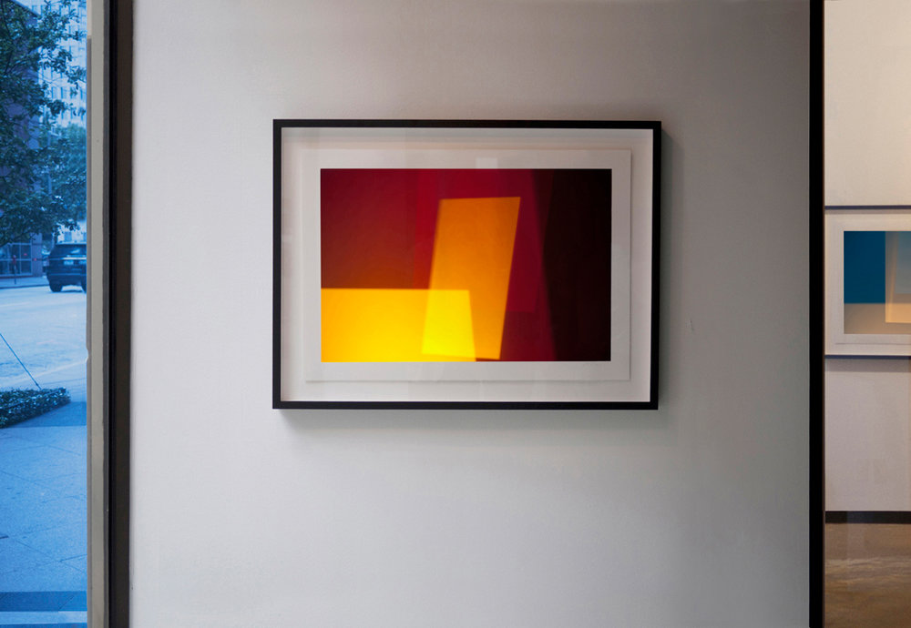 Tangerine Dream (2014) , 20 x 30 inches (50.8 x 76.2 cm), abstract photographic work on rag paper by Steven Silverstein, installation view at the Esperson Gallery.