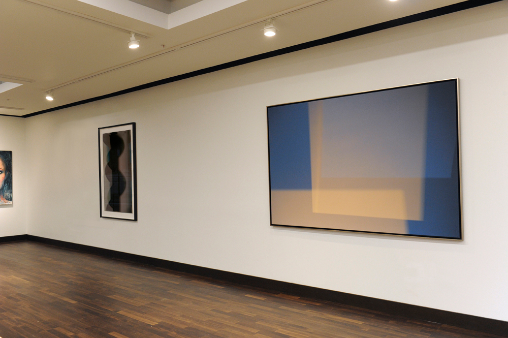 Spaces Within II  (2014)   abstract photography by Steven Silverstein, installed in the JW Marriott gallery's permanent collection. 56 x 85 inches (142.2 x 213.3 cm) canvas.  Black Queen  (to the left) was also on loan for the gallery opening.