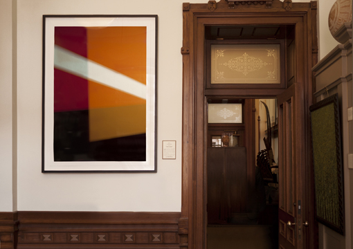 """Steven Silverstein's abstract photographic work on rag paper,  Right On , 60 x 40 inches (152.4 x 101.6 cm), was one of two works in the """"I See You"""" exhibit at the Texas Capitol."""