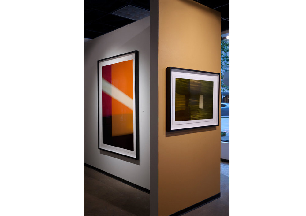 (L to R)  Right On  (2014), paper, 60 x 40 inches (152.4 x 101.6 cm), Winnowing III, archival pigment ink on rag paper, 20 x 30 inches (50.8 x 76.2 cm) - abstractions by photographer Steven Silverstein in Schrodinger's Math at Esperson Gallery. Each are Editions of 5, AP 1.