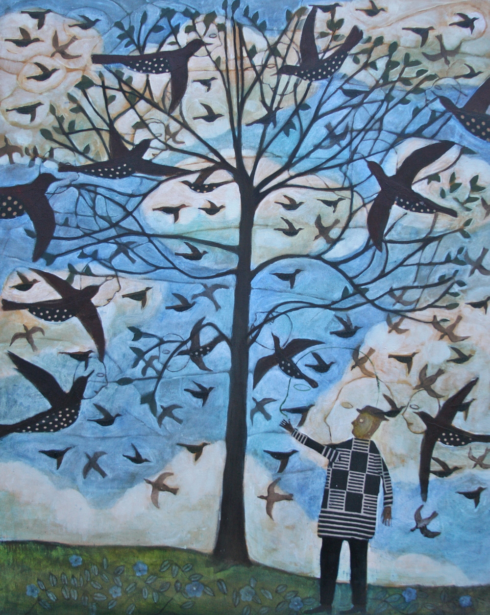 Man Having a Discussion with Birds In a Tree