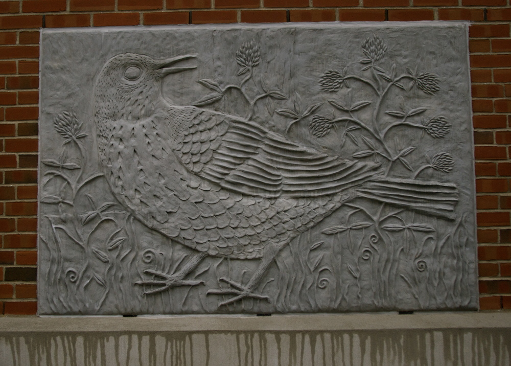 Hermit Thrush, 4'x6' Cast Stone 2011 The Brattleboro Court House, Brattleboro, VT
