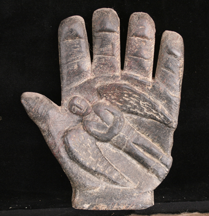 "Hand Angel  6""x5""x2"" Soapstone 2005 private collection"