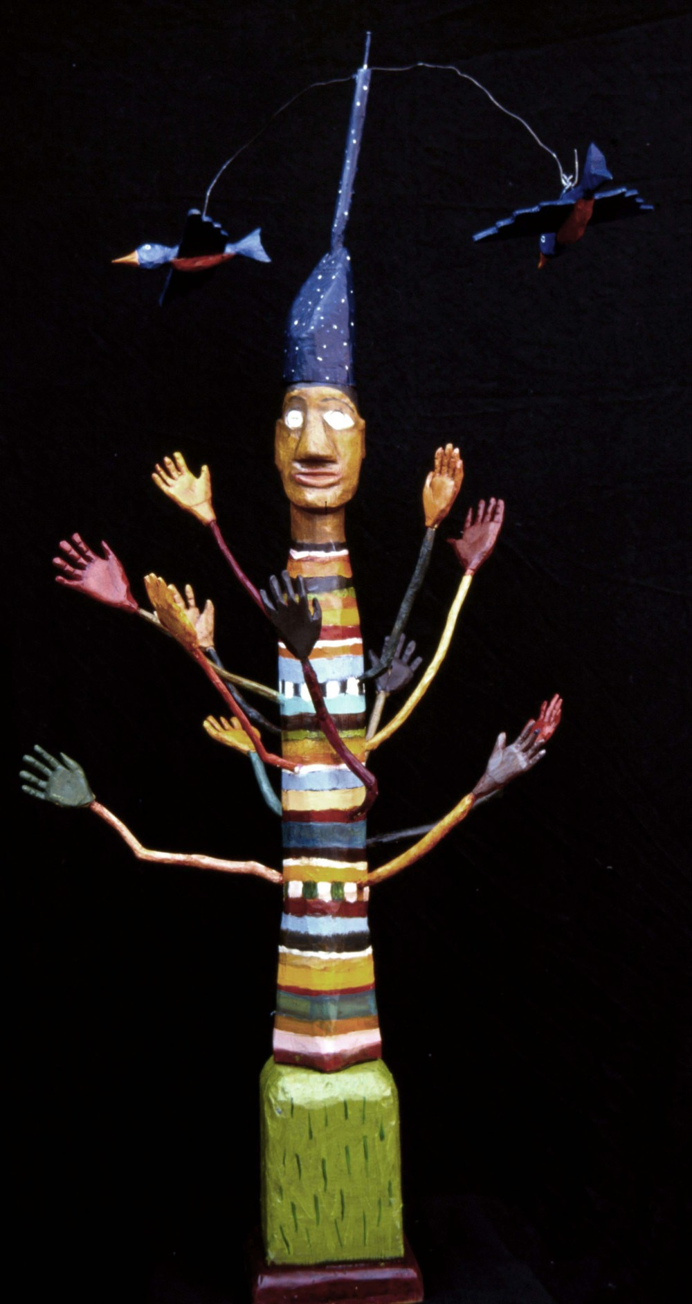 Tree Man 46x 18 Oil Paint, Carved Wood 2006