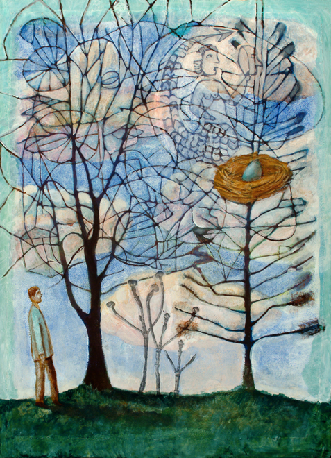 Mermaid in the Trees 24x30 Oil, Collage on Panel, 2007