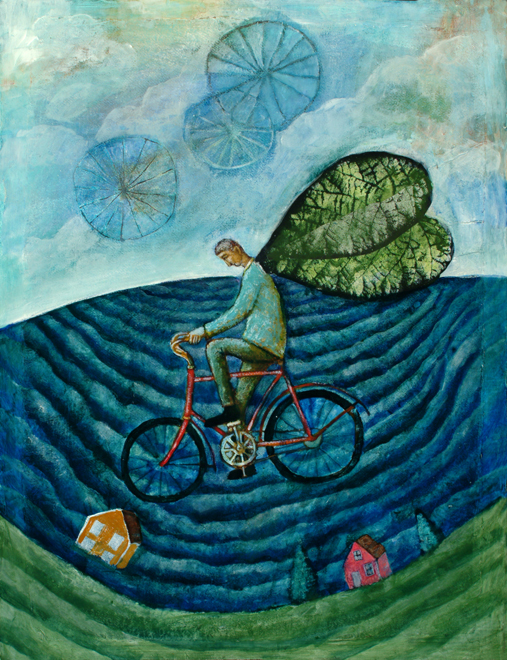 Flying Bicycle 24x30 Oil, Collage on Panel, 2007