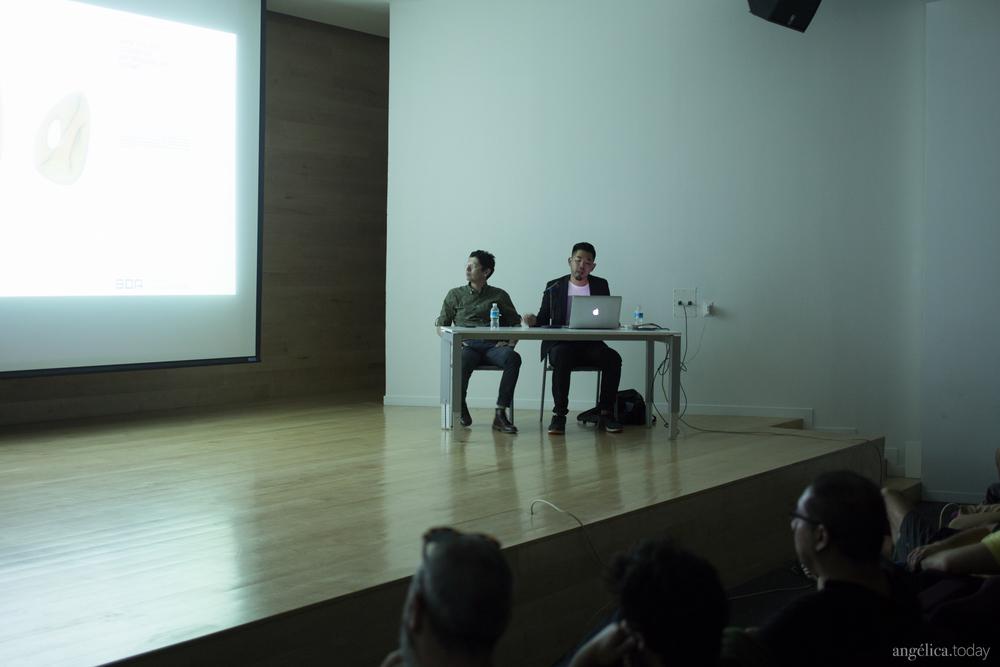 Alvin Huang durante la presentación de su trabajo en el auditorio del museo // Fotografía Angélica Ibarra
