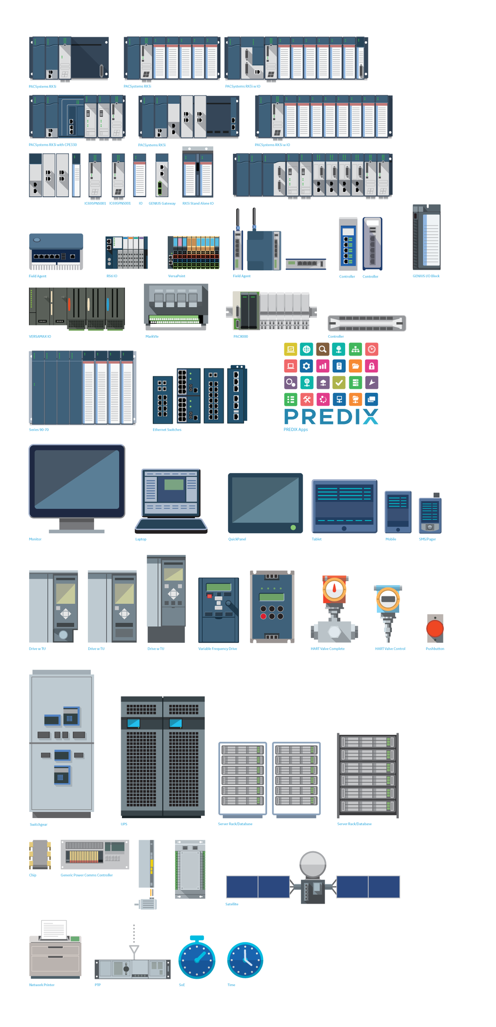Product icons to be used by client in application architecture examples for sales collateral