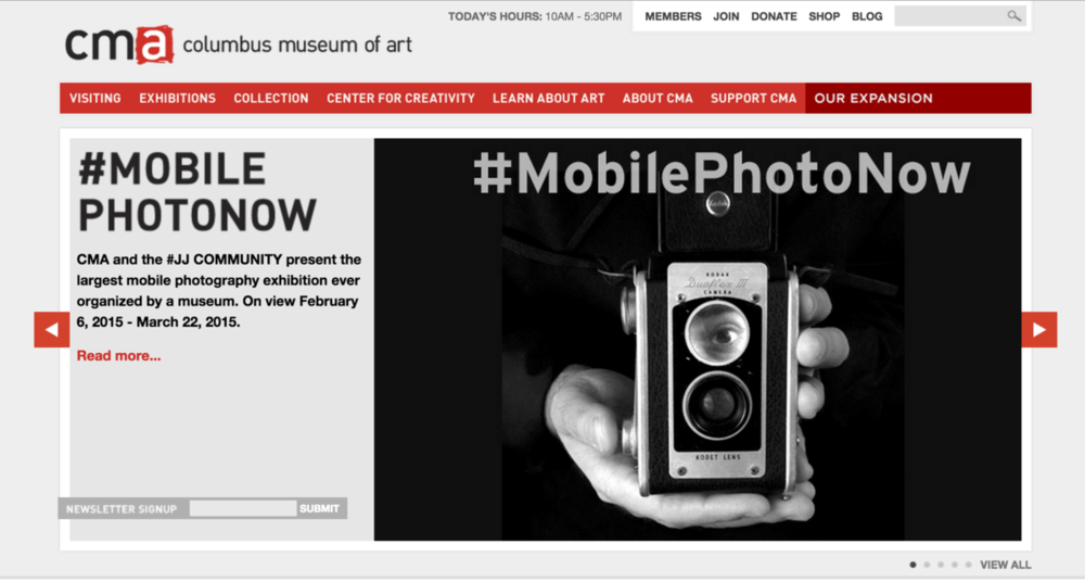 My photo featured on the main page of the Columbus Museum of Art website (Feb 2, 2015)