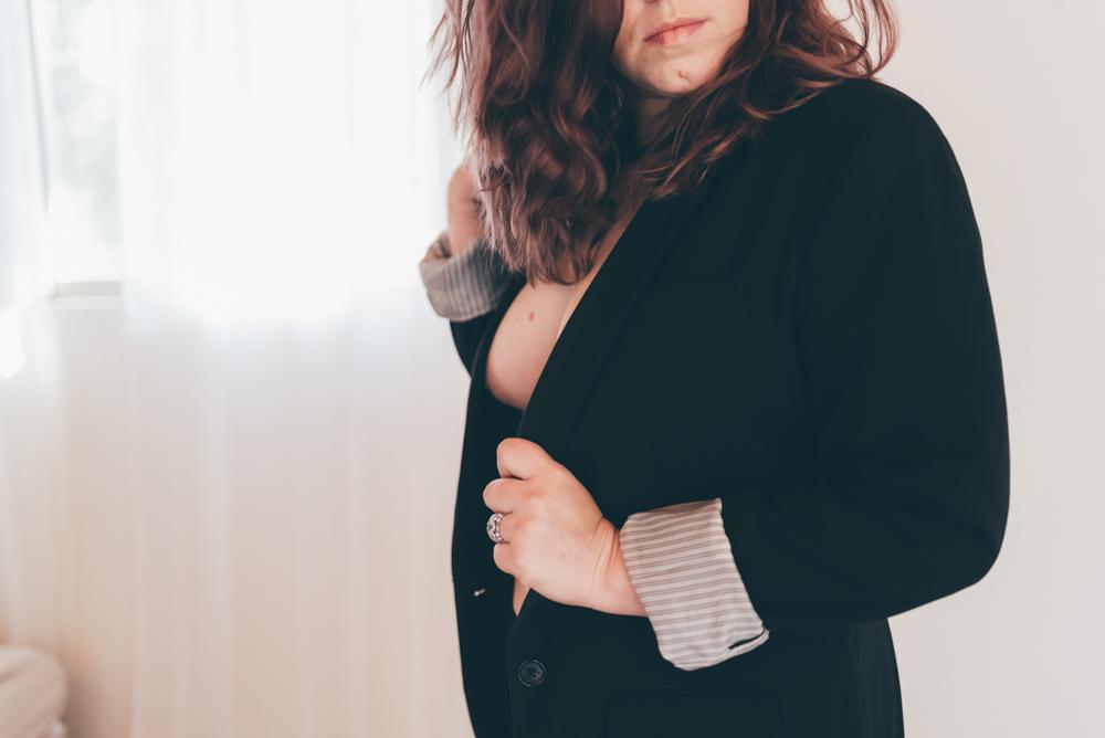 CEO Power Suit Boudoir Session by Debra Alison Photography