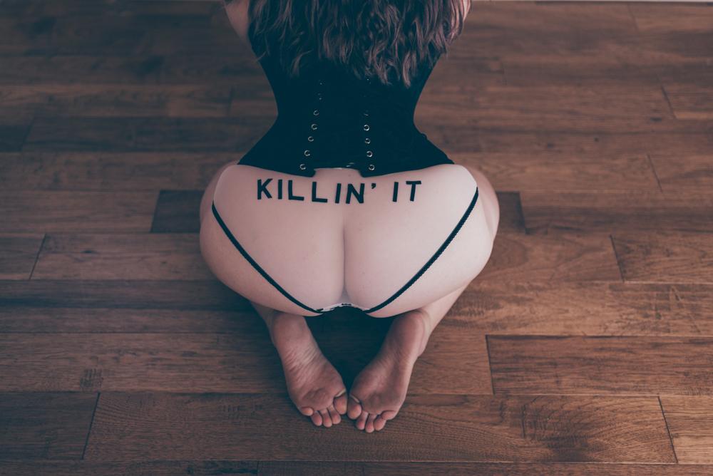 Killin it underwear Boudoir Session by Debra Alison Photography