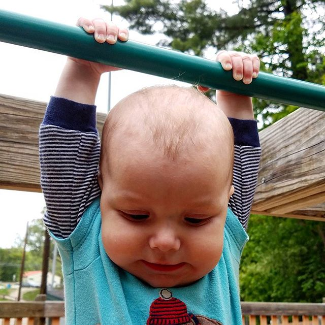 Little buddy getting in some reps at the playground! 💪
