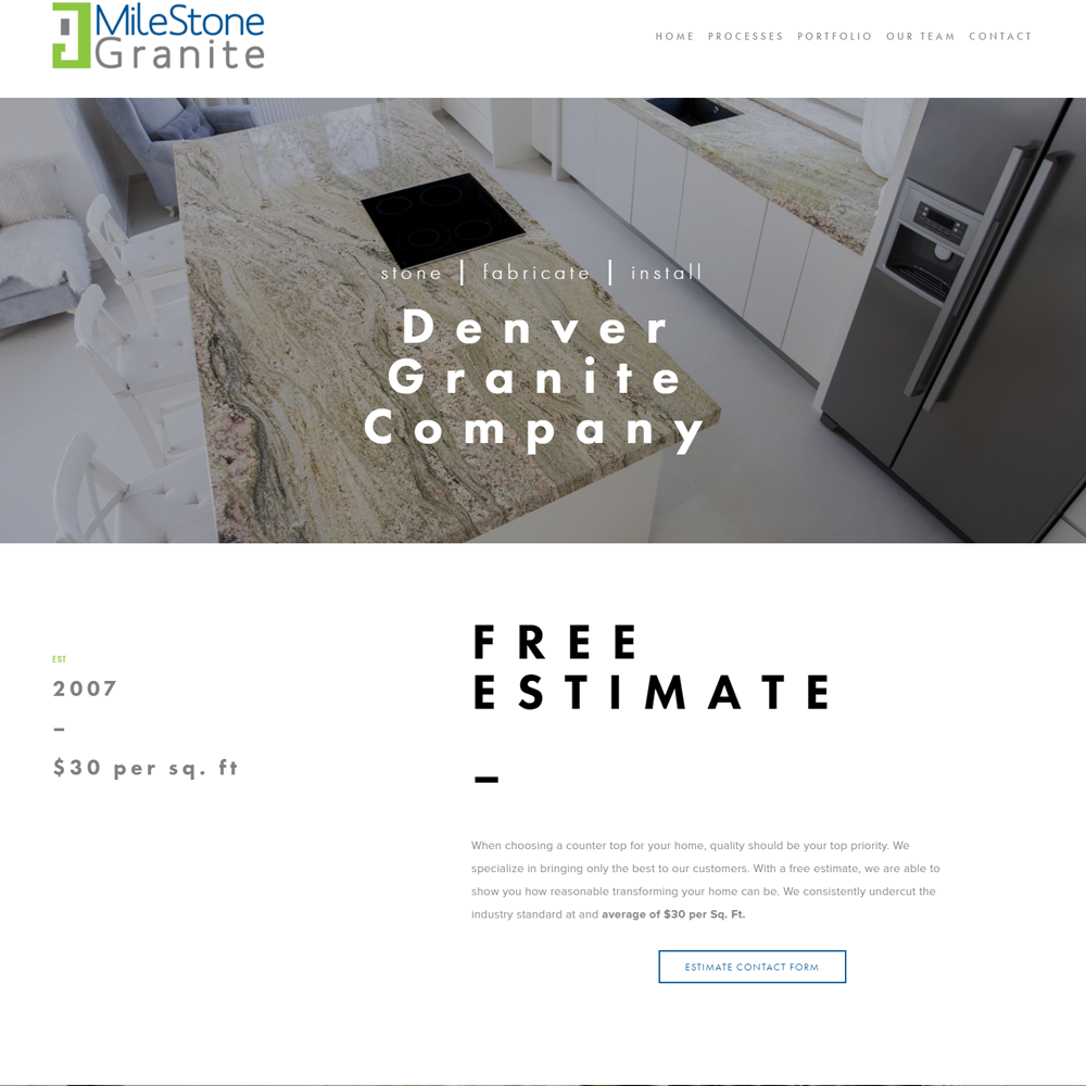"""<a href=""""http://milestonegranite.com"""" target=""""_blank"""">Milestone Granite</a><strong>Multi-Page Parallax Scrolling Architecture designed for online customer interaction.</strong>"""