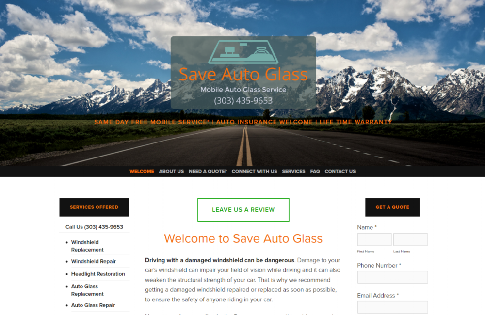 """<a href=""""http://saveautoglass.net"""" target=""""_blank"""">Save Auto Glass</a><strong>Online review focused, full website build</strong>"""