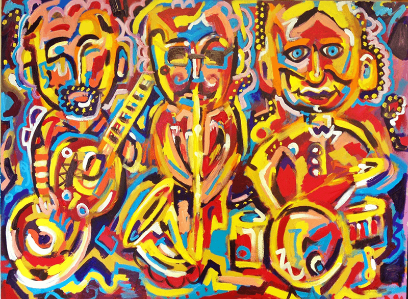 Jazz Trio      Acrylic on Canvas (48x36)