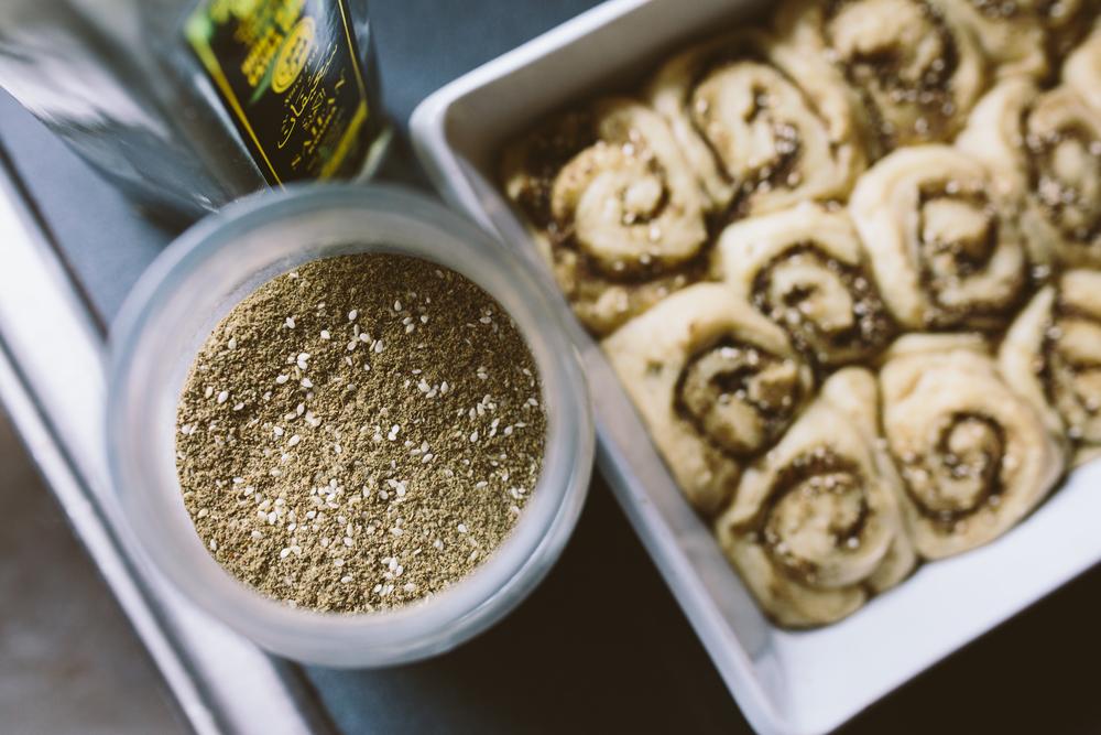 Za'atar and olive oil.