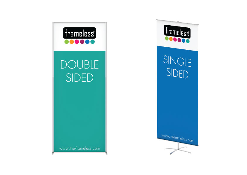 Frameless® Banner - Frameless® Banner is a frameless display system. An exceptional advantage is the uncomplicated assembly of the frame. Exchange of the graphics is accomplished in no time as well.Frameless® Banner is a eye catcher solution for your campaigns. Because of its unique design, the Frameless system always highlights your design, never stealing the spotlight. 100% of your message is always visible.The Banner is only bought once. The fabric print can be used over and over again without any trace of usage.