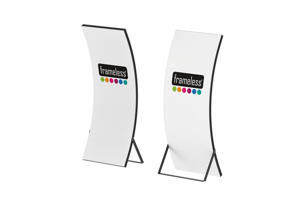 Frameless® Arc - Frameless® Arc features a unique curve shape with a large graphic area which allows you to create a high impact display which will spark interest. An exceptional advantage is the uncomplicated assembly of the frame. Exchange of the graphics is accomplished in no time as well.Frameless® Arc is a eye catcher solution for your campaigns. Because of its unique design, The Frameless system always highlights your design, never stealing the spotlight. 100% of your message is always visible.The Arc is only bought once. The fabric print can be used over and over again without any trace of usage.