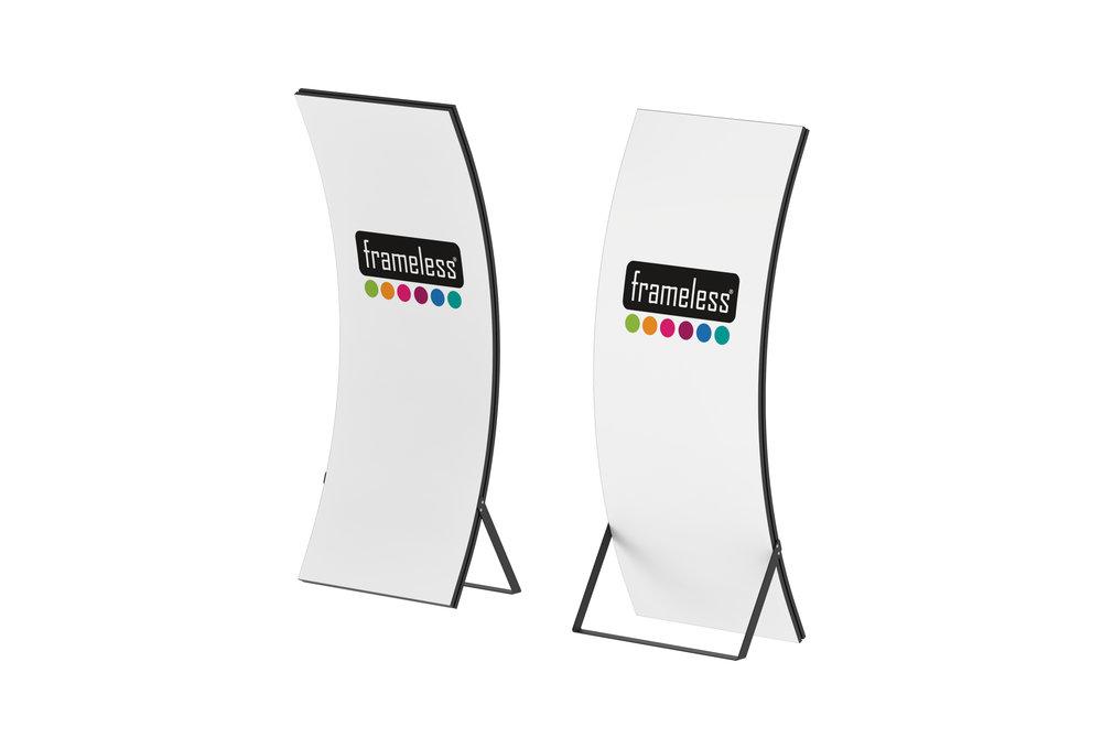 Frameless® Arc - Frameless® Arc ürünün en önemli özelliği kavisli olmasıdır.Diğer avantajlarıkurulumunun kolay ve görselinin hızlı bir şekilde değişmesidir.Frameless® Arc kullanacağınız tüm etkinliklerde dikkat çekmek için iyi bir çözüm olacaktır. Tasarımısayesinde verilmek istenen mesajınız %100 net bir şekilde görülebilir.