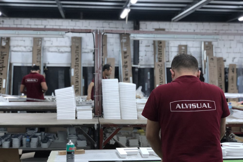 "In-House Production - Our Production facility in Turkey and our regional production centers, give us the advantage to react fast to our customers needs. For further processing, materials such as ""Aluminum, Steel, Wood, Acrylic, PET, PS, PC as well as Digitally Printable Textiles"