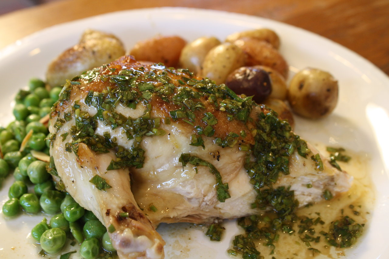 Lemon Chicken Under a Brick with Fresh Herb Sauce