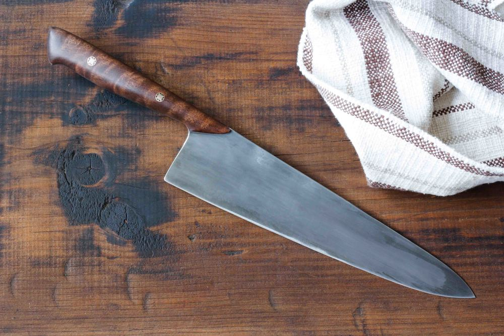 "9.25"" Chef Knife with a Black Walnut Handle."
