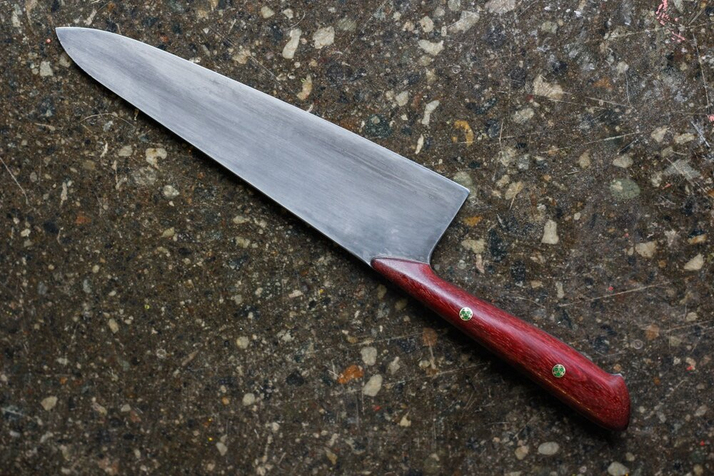 "8.5"" Purple Heartwood Chef Knife.  $700, SOLD."