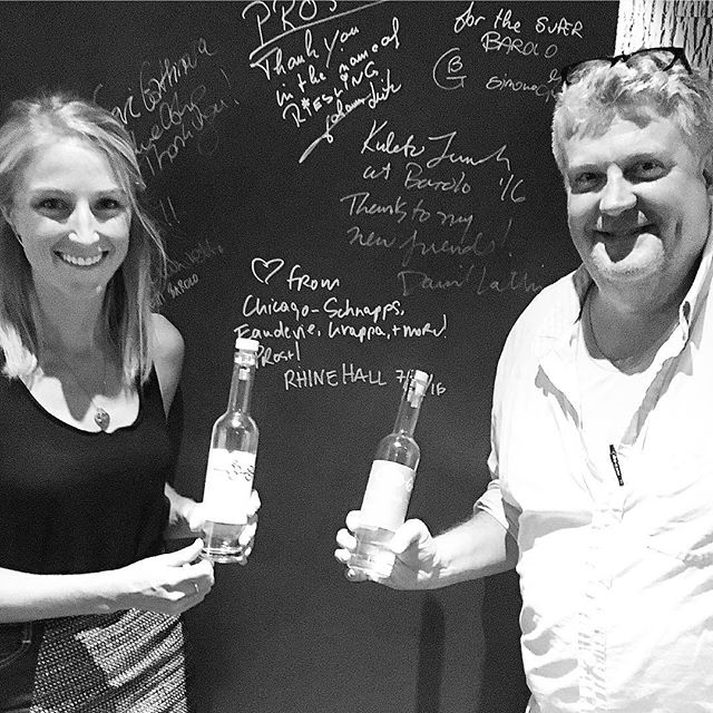 Signed the wall, so it's official! Come sip some Rhine Hall Mango Brandy, Grappa, and La Normande at Barolo at Robinia Courtyard in Madison!
